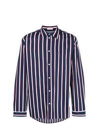 Camisa de manga larga de rayas verticales en azul marino y blanco de Tommy Jeans