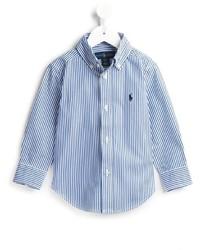 Camisa de manga larga de rayas verticales en blanco y azul marino de Ralph Lauren