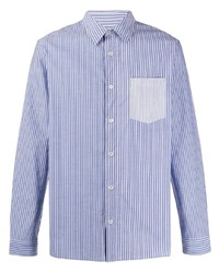 Camisa de manga larga de rayas verticales en blanco y azul de A.P.C.