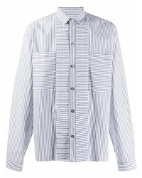 Camisa de manga larga de rayas verticales en blanco y azul de Ann Demeulemeester