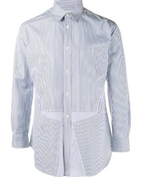 Camisa de manga larga de rayas verticales en blanco y azul de Comme des Garcons