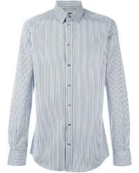 Camisa de Manga Larga de Rayas Verticales en Blanco y Azul de Dolce & Gabbana