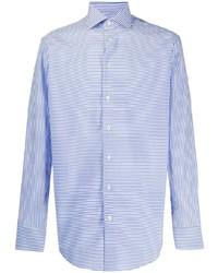 Camisa de manga larga de rayas verticales en blanco y azul de Etro