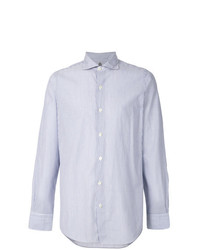 Camisa de Manga Larga de Rayas Verticales en Blanco y Azul de Finamore 1925 Napoli