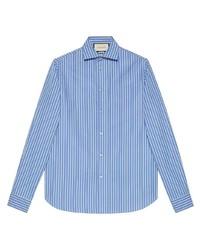 Camisa de manga larga de rayas verticales en blanco y azul de Gucci