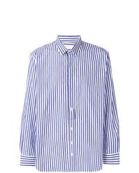 Camisa de manga larga de rayas verticales en blanco y azul de Henrik Vibskov