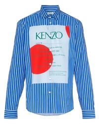 Camisa de manga larga de rayas verticales en blanco y azul de Kenzo