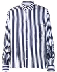 Camisa de Manga Larga de Rayas Verticales en Blanco y Azul de Marni
