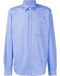 Camisa de manga larga de rayas verticales en blanco y azul de MSGM