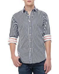 Camisa de manga larga de rayas verticales en blanco y negro