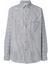 Camisa de manga larga de rayas verticales en blanco y negro de Alexander McQueen