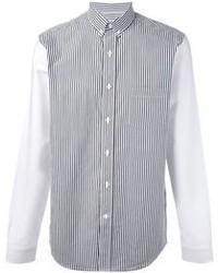 Camisa de manga larga de rayas verticales en blanco y negro de Ami