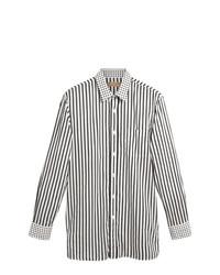 Camisa de manga larga de rayas verticales en blanco y negro de Burberry
