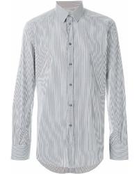 Camisa de manga larga de rayas verticales en blanco y negro de Dolce & Gabbana