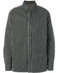 Camisa de manga larga de rayas verticales en blanco y negro de Lanvin
