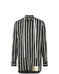 Camisa de manga larga de rayas verticales en blanco y negro de Maison Mihara Yasuhiro
