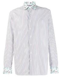 Camisa de manga larga de rayas verticales en blanco y rojo y azul marino de Etro
