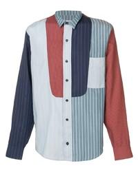 Camisa de manga larga de rayas verticales en blanco y rojo y azul marino de Henrik Vibskov