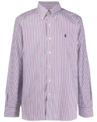 Camisa de manga larga de rayas verticales en blanco y rojo y azul marino de Polo Ralph Lauren