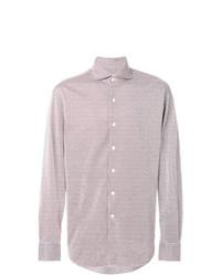 Camisa de manga larga de rayas verticales en blanco y rojo de Alessandro Gherardi