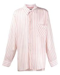 Camisa de manga larga de rayas verticales en blanco y rojo de Botter