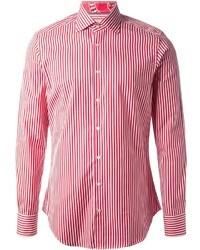 Camisa de manga larga de rayas verticales en blanco y rojo de Etro