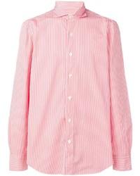 Camisa de manga larga de rayas verticales en blanco y rojo de Finamore 1925 Napoli