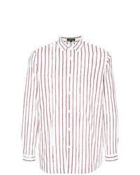 Camisa de manga larga de rayas verticales en blanco y rojo de Loveless