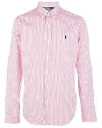 Camisa de manga larga de rayas verticales en blanco y rojo de Polo Ralph Lauren