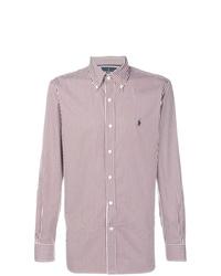 Camisa de manga larga de rayas verticales en blanco y rojo de Ralph Lauren