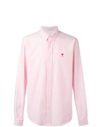 Camisa de manga larga de rayas verticales en blanco y rosa de AMI Alexandre Mattiussi
