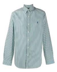 Camisa de manga larga de rayas verticales en blanco y verde de Ralph Lauren