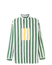 Camisa de manga larga de rayas verticales en blanco y verde de Sunnei