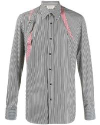 Camisa de manga larga de rayas verticales en negro y blanco de Alexander McQueen