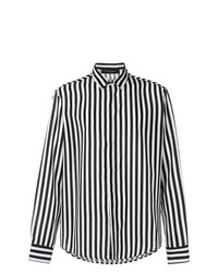 Camisa de manga larga de rayas verticales en negro y blanco de Christian Pellizzari