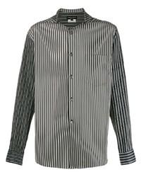 Camisa de manga larga de rayas verticales en negro y blanco de Comme Des Garcons Homme Plus