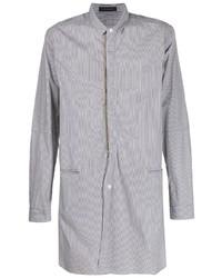 Camisa de manga larga de rayas verticales en negro y blanco de JohnUNDERCOVE