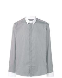 Camisa de manga larga de rayas verticales en negro y blanco de Les Hommes