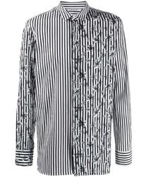 Camisa de manga larga de rayas verticales en negro y blanco de Neil Barrett