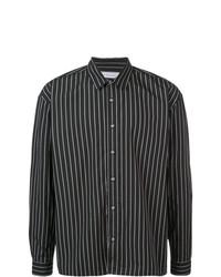 Camisa de manga larga de rayas verticales en negro y blanco de The Celect
