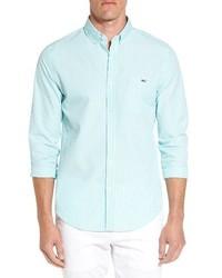 Camisa de manga larga de rayas verticales en verde menta