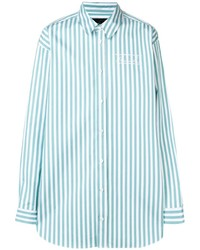 Camisa de manga larga de rayas verticales en verde menta de Martine Rose