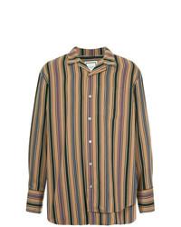 Camisa de manga larga de rayas verticales marrón claro de Wooyoungmi