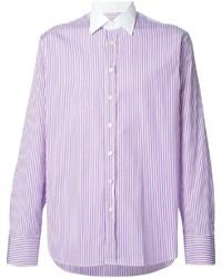 Camisa de manga larga de rayas verticales morado de Etro