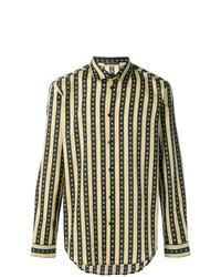 Camisa de manga larga de rayas verticales negra de Versace