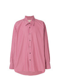 Camisa de manga larga de rayas verticales rosa