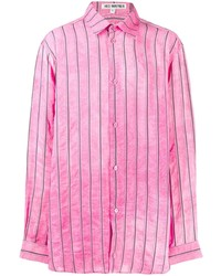 Camisa de manga larga de rayas verticales rosa de Hed Mayner