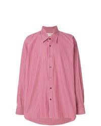Camisa de manga larga de rayas verticales rosa de Marni