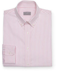 Camisa de manga larga de rayas verticales rosada