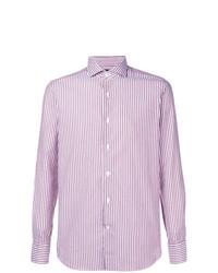 Camisa de manga larga de rayas verticales rosada de Alessandro Gherardi
